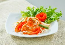 Free Papaya Salad Thai Style Isolated On White Stock Photography - 19441992