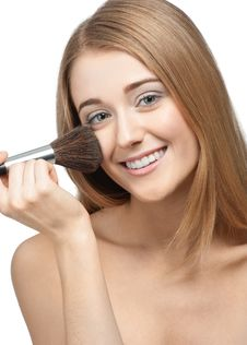 Free Pretty Young Woman With Brush For Makeup Stock Image - 19442691