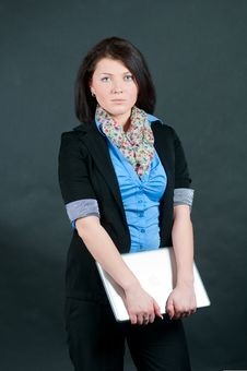 The Businesswoman Works At The Computer Stock Photos