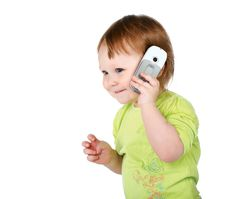 Free Surprised Little Girl With  Phone Royalty Free Stock Photos - 19443018