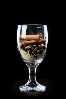 Star Anise And Rice With Cinnamon Sticks Stock Images