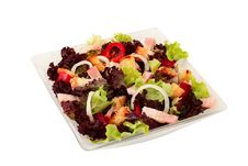 Free Salad Of Fresh Vegetables, Crackers And Bacon Royalty Free Stock Photos - 19444308