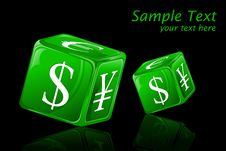 Free Dice With Currency Symbol Stock Photography - 19444762