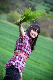 Free Girl In Green Field Stock Photos - 19445443
