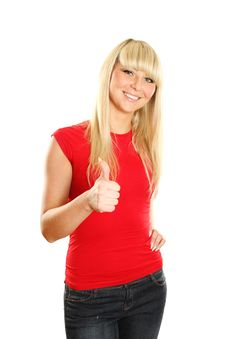 Close-up Of A Young Woman Showing Thumbs Up Royalty Free Stock Photo