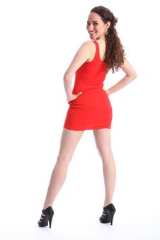 Free Smile From Happy Young Woman In Short Red Dress Stock Images - 19446544