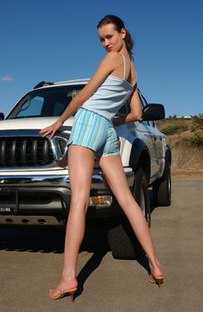 Free Fashion Model Posing Sexy In Front Of Car Stock Images - 19446974