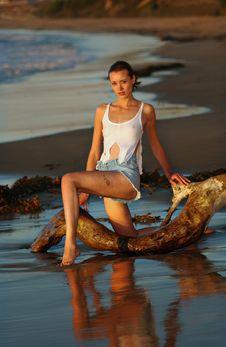 Free Fashion Model Posing Sexy At Ocean Royalty Free Stock Photo - 19446985