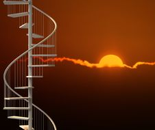 Free Vertical Spiral Stairway In Sunset Scene Royalty Free Stock Photo - 19447335