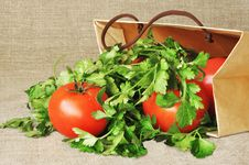 Free Tomatoes And Parsley In A Paper Package Stock Photo - 19447810
