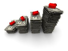 Free House Sitting On Stack Of Hundred Dollar Bills Stock Photography - 19447942