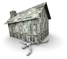 Person Crushed Under House Made Of Money Stock Photography