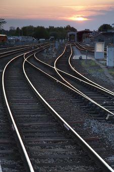 Railway Tracks At Dusk Stock Images