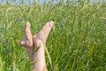 Free Woman Two Legs In Green Grass Field Under Blue Sky Royalty Free Stock Photo - 19451655