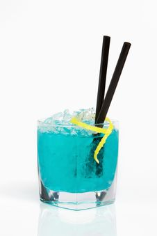Refreshing Blue Cocktail Royalty Free Stock Photos