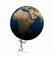 Free Man Lifting Earth (Europe) Stock Images - 19450674