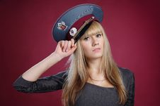 Free Attractive Sexy Blond Woman In Service Cap Stock Photos - 19450693