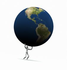 Free Man Lifting Earth (Americas) Royalty Free Stock Images - 19450699