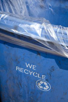 We Recycle - Blue Trash Container Bin Royalty Free Stock Images