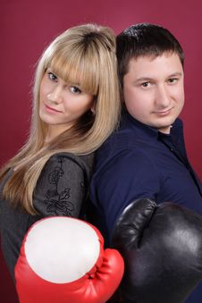 Free Attractive Family Couple In  Boxing Gloves On Red Stock Photo - 19450980