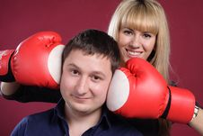 Free Attractive Family Couple In  Boxing Gloves On Red Royalty Free Stock Image - 19450996