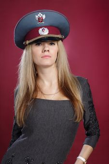 Free Attractive Sexy Blond Woman In Service Cap Stock Images - 19451034