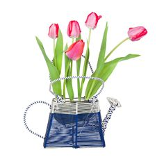 Free A Bouquet Of Tulips In A Vase-watering Royalty Free Stock Photography - 19451197