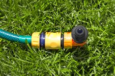 Lawn With Sprinkler Stock Image