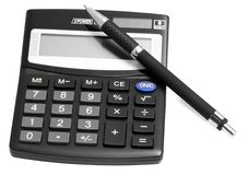 Free Black Calculator With Pen Royalty Free Stock Photo - 19451805