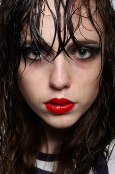 Close Up Portrait Of Girl With Wet Hairs Royalty Free Stock Photography