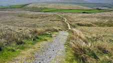English Hilly Countryside: Footpath, Grassy Fields