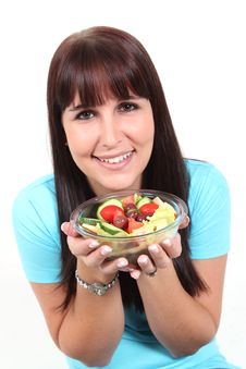 Free Woman Holding A Bowl With Salad Royalty Free Stock Images - 19453239