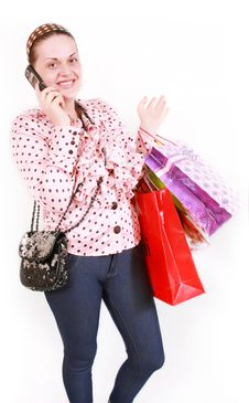 Free Woman With Purchases Royalty Free Stock Images - 19453359