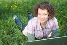 Free Girl With  Laptop On The Spring Meadow Stock Photos - 19453533