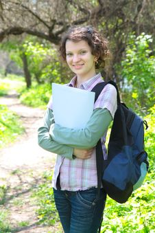 Free Female Teenage Student In Summer Park Stock Image - 19453561