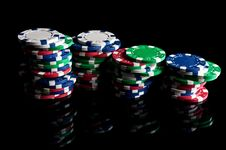 Free Poker Chips Royalty Free Stock Photography - 19454337