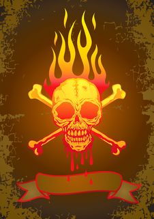 Free Illustration Of The Skull In Flames Royalty Free Stock Images - 19454389