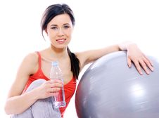 Free Beautiful Girl With Bottle Of Mineral Water Stock Photos - 19454413
