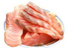Free Pieces Of Salted Salmon On Plate Stock Photo - 19454440