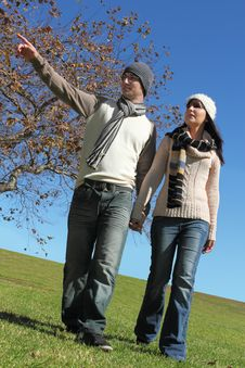 Young Couple Walking Royalty Free Stock Photography