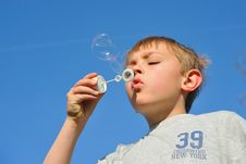 Free Blonde Boy With Soap Bubbles Stock Images - 19455474