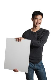 Free Man Holding White Sign Stock Photos - 19455633
