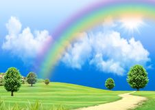Free Rainbow Over A Green Glade Royalty Free Stock Photo - 19455865