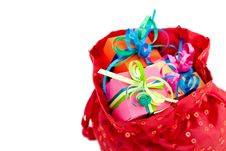 Free Gift Boxes In A Red Bag Stock Image - 19456031