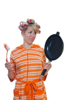 Free Housewife With A Brush And Pan Stock Image - 19456381