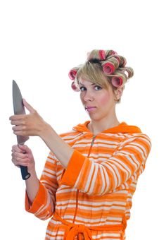 Free Housewife With A Knife Stock Photos - 19456393