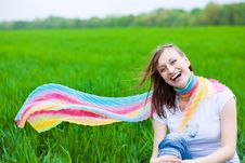 Free Happy Girl In A Scarf Royalty Free Stock Image - 19456476
