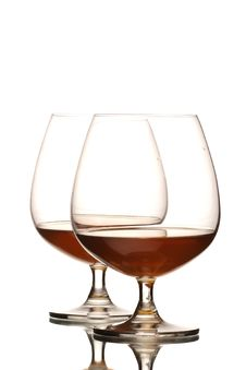 Free Two Glasses Of Cognac Stock Photo - 19456490