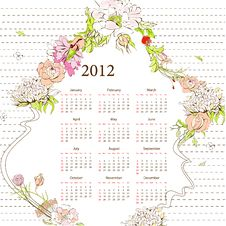 Free Template For Calendar 2012 Royalty Free Stock Photography - 19456967