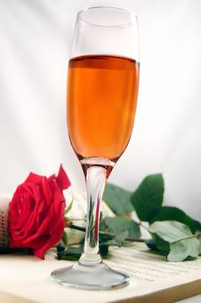 Rose,champagne And Music Royalty Free Stock Photo